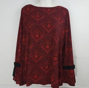 Charter Club Black and Red Blouse L
